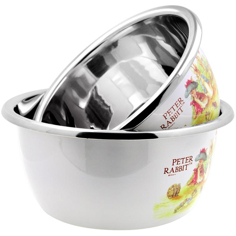 比得兔(Peter Rabbit) 不锈钢多用盆二件套菜盆汤盆米缸大容量加厚钢材不锈钢盆 白色PR-3528