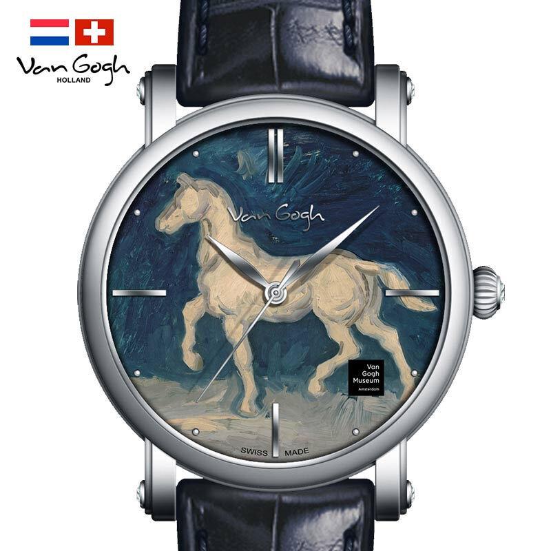 梵高(VanGogh)瑞士手表男 3D油画表面牛皮表带时尚休闲潮牌博物馆正版原装进口 明星同款 马的石膏像Gent 10-1